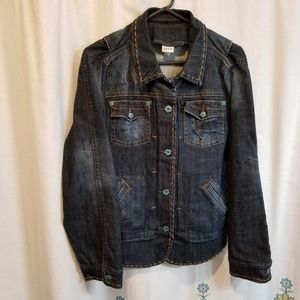 Super cute Venzia denim jacket with teal accents